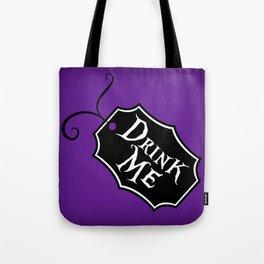 """""""Drink Me"""" Alice in Wonderland styled Bottle Tag Design in 'Shy Violets' Tote Bag"""