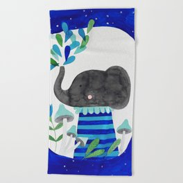 elephant with raindrops in blue watercolor illustration Beach Towel