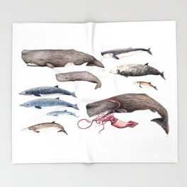 Deep sea whales Throw Blanket