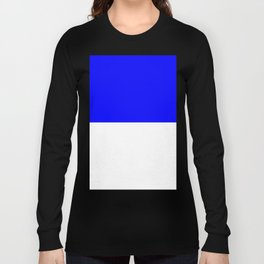 White and Blue Horizontal Halves Long Sleeve T-shirt