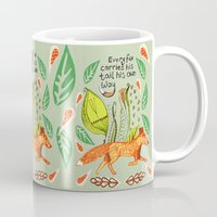 sayings Mugs featuring Every Fox...fox, sayings, typography, quote, nature, leaves by Slumbermonkey Designs