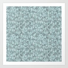 A Plethora of Relaxed Hands in Blue Art Print