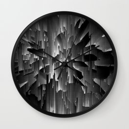 Flowers Exploding with Dots in Black and White Wall Clock