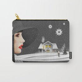 The woman with th winter scarf Carry-All Pouch