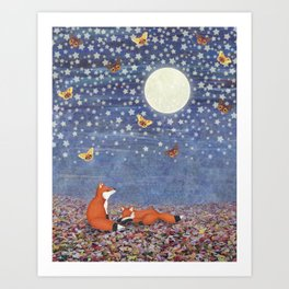 moonlit foxes Art Print