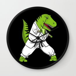 Karate T-Rex Dinosaur Ninja Martial Arts Wall Clock
