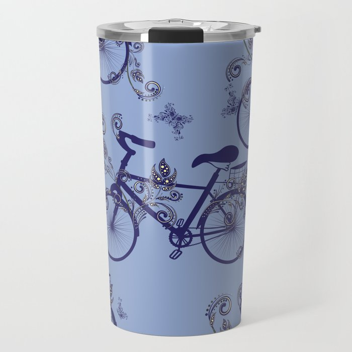 Bicycle and Floral Ornament Travel Mug