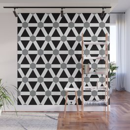 Geometric Pattern 176 (gray triangle grid) Wall Mural
