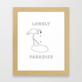 flamingo lonely paradise Framed Art Print