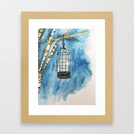 birdcage watercolor Framed Art Print