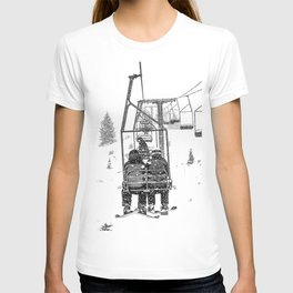 Snow Lift // Ski Chair Lift Colorado Mountains Black and White Snowboarding Vibes Photography T-shirt