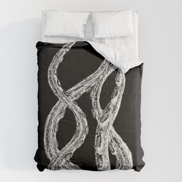 Woodcut Style Cthulu Octopus Tentacles on Black Background Terror Four Comforters