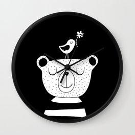 Monochrome Bear and Bird Wall Clock