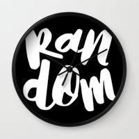 random Wall Clocks featuring Random by Word Quirk