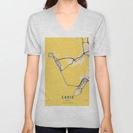 Cadiz Yellow City Map Unisex V-Neck