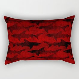 Blood Red Sharks Rectangular Pillow