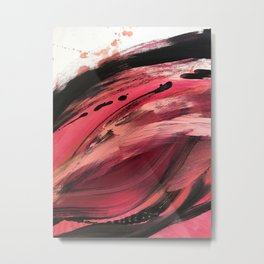 Entangled [2]: a vibrant, colorful abstract mixed-media piece in reds, pinks, black and white Metal Print