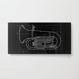 Geometric Tuba Metal Print