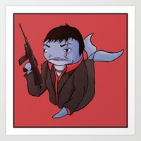scarface Art Prints featuring Scarface Whale by CoolBreezDesigns