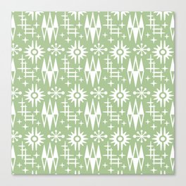 Mid Century Modern Atomic Space Age Pattern Nile Green Canvas Print