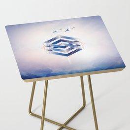 Indigo Hexagon :: Floating Geometry Side Table