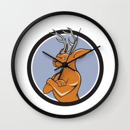 Jackalope Arms Crossed Circle Cartoon Wall Clock