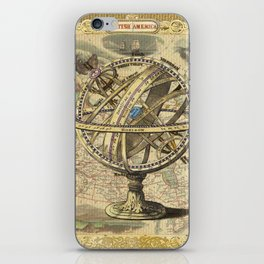 Vintage nautical compass and map illustration iPhone Skin