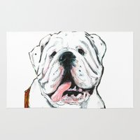 english bulldog Area & Throw Rugs featuring English bulldog // White  by ali_grace_gal