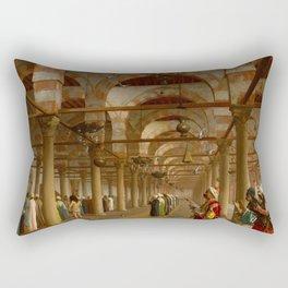 """Jean-Léon Gérôme """"Prayer in the mosque"""" Rectangular Pillow"""