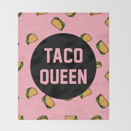 Taco Queen - pink Throw Blanket