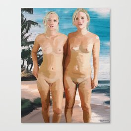 Nude Twins sisters Canvas Print