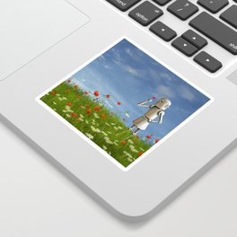 Robot in field of wildflowers Sticker