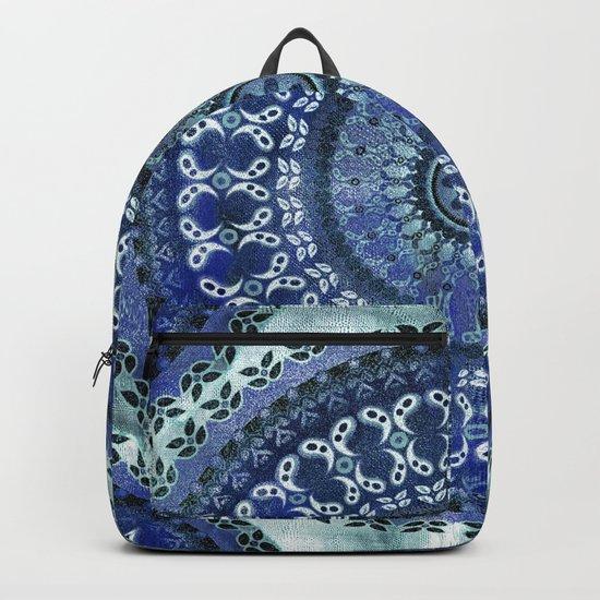 Vintage Blue Wash Mandala Backpack