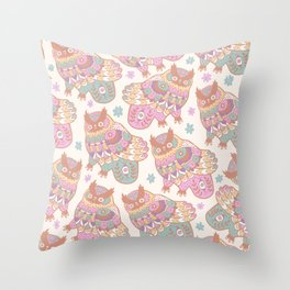 Cosmic Owls Throw Pillow