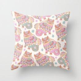 Cosmic Owls Throw Pillow