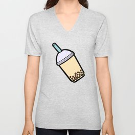 Bubble Tea Pattern in Red Unisex V-Neck