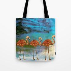 Flamingo Illustration on watercolor - at night Tote Bag