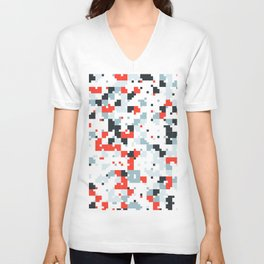 The accent color - Random pixel pattern in red white and blue Unisex V-Neck
