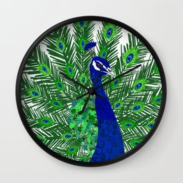 Peacock Collage Wall Clock