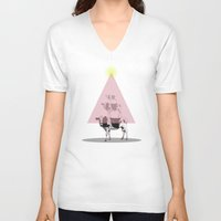 cows V-neck T-shirts featuring Cows attraction by AmDuf