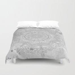 gray splash mandala swirl boho Duvet Cover