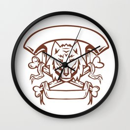 Wolf Cross Bones Banner Retro Wall Clock