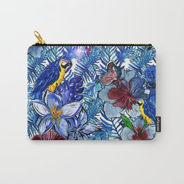 Aloha - Tropical blue Palm Leaf Flower and Bird Pattern Carry-All Pouch