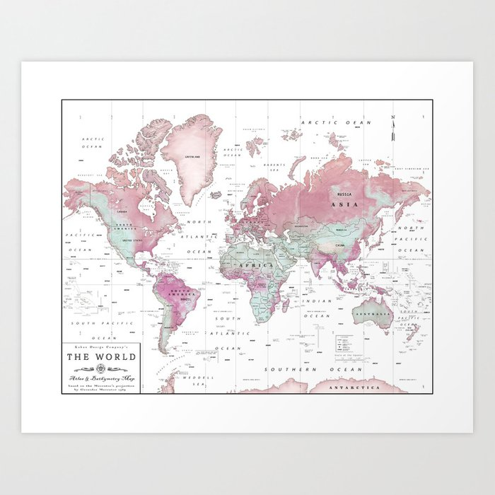 World Map Wall Art Pink Hues Art Print By Kokuadesigncompany - Pink world map poster