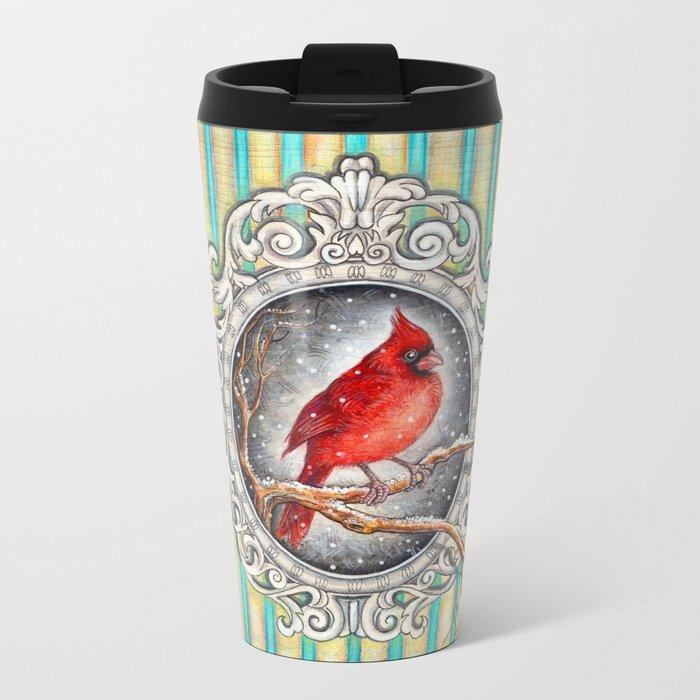 RED CARDINAL in FRAME Metal Travel Mug