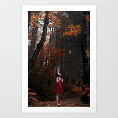 Girl in the red nature Art Print