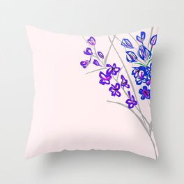 Delphinium on Light Pink Throw Pillow