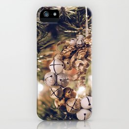 Jingle Bell Wreath on Christmas Tree (Color) iPhone Case