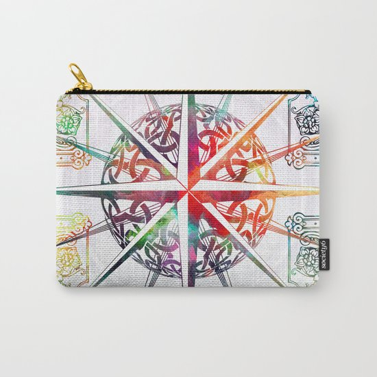 Travellers Spirit Colourful Celtic Compass Design Carry-All Pouch