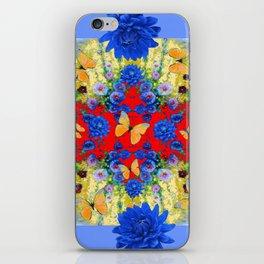 VERY BLUE  FLOWERS YELLOW BUTTERFLIES PATTERN ART iPhone Skin